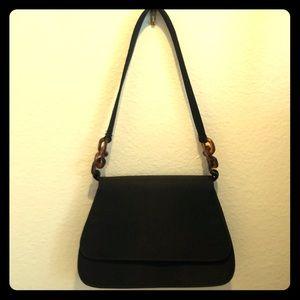 Vintage Black Fold Over Handbag